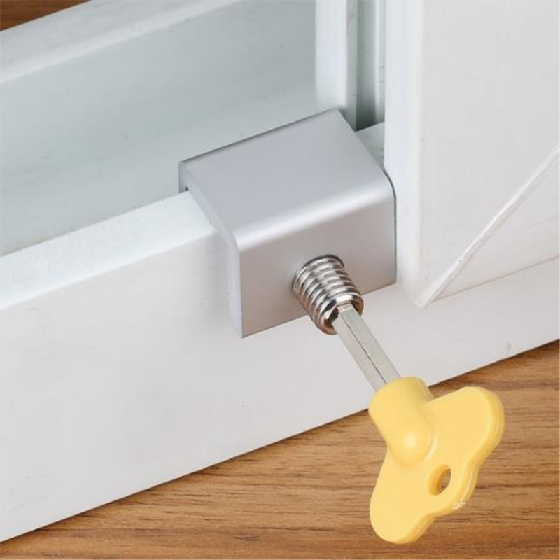 High Quality Security Child Safety Lock Sliding Sash Stopper Baby Safe Protective Anti-theft Limiter Sliding Window Lock