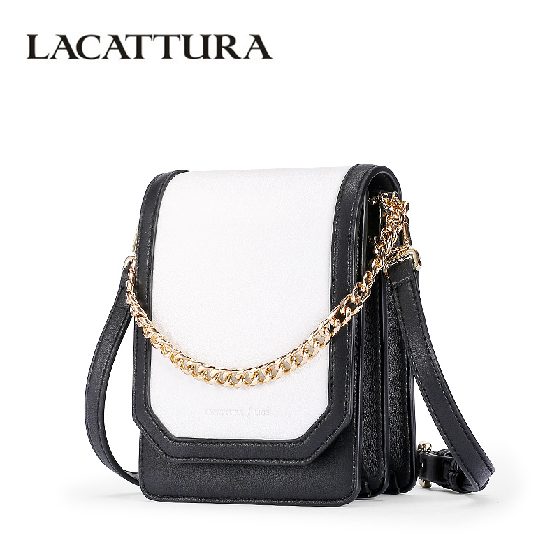 LACATTURA Luxury Handbag Lovely Women Messenger Bag Leather Small Flap Shoulder Bags Fashion Designer Crossbody for Lady lacattura small bag women messenger bags split leather handbag lady tassels chain shoulder bag crossbody for girls summer colors