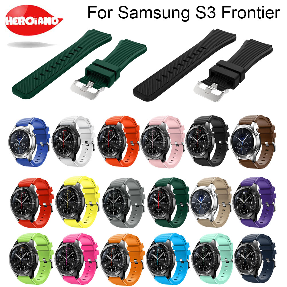 Watchband Gear S3 Frontier /Classic Watch Band, 22mm Soft Silicone Man Watch Replacement Bracelet Strap for Samsung Gear S3 band 18 colors rubber wrist strap for samsung gear s3 frontier silicone watch band for samsung gear s3 classic bracelet band 22mm