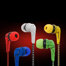 PTM A12 Reflective Cloth Line Earphone Headphone Crack Earbuds with Microphone Stereo Headset for Mobile Phone iPhone with Mic