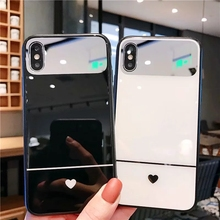 IMIDO Fashion Luxury Plating Mirror Anti-fall Cases For iphone 6/7/8/X Case Screen Protector Filmb Soft TPU Cover With Hearts