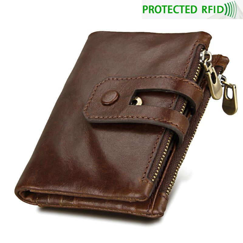 Men Vintage Genuine Leather Rfid Protection Short Wallet High Quality Male Fold Over Coin Purse Minimalist