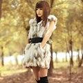 2016 Spring Autumn Genuine Real Spliced Rabbit Fur Vests Waistcoat with Hoody Winter Women Fur Gilet Outerwear Coats VK3018