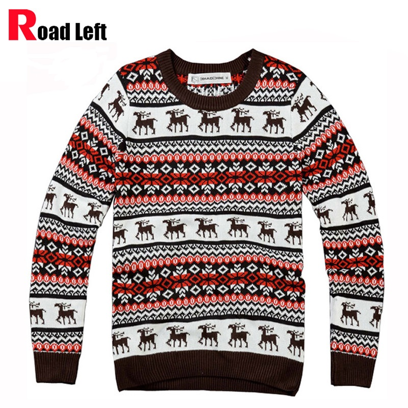New Personalized Male Round Neck Pullover Sweaters Men Winter Red Christmas Sweater Deer Pattern Knitted Jumper
