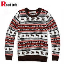 Neue Personalisierte Männlich Rundhals Pullover Männer Winter Rot Weihnachten Pullover Hirsche Muster Strickpullover Sueter Masculino