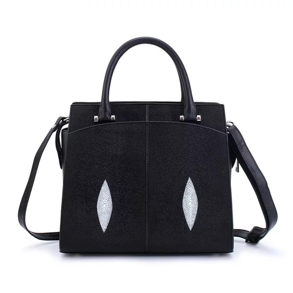Classical Black White Designer Genuine Stingray Skin Leather Women Trapeze Bag Ladies Single Shoulder Bag Female Purse Handbag women designer leather smiley trapeze handbag luxury lady smiling face purse shoulder bag girl crossbody bag sac femme neverfull