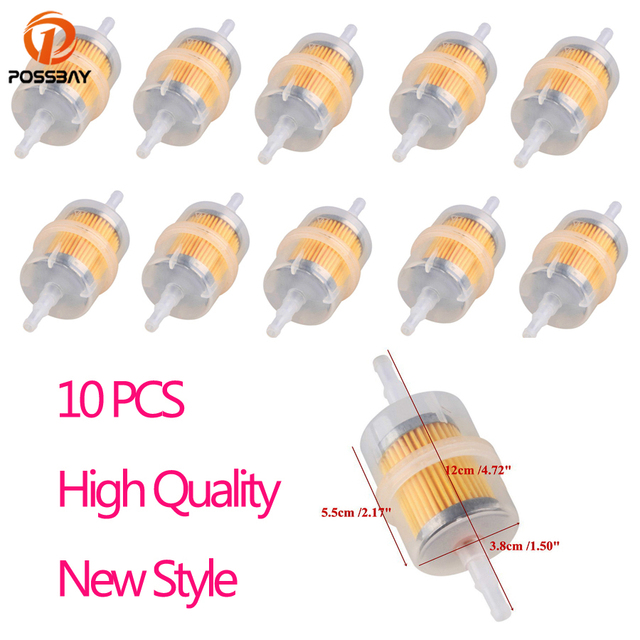 POSSBAY 10pcs/Set Universal Motorcycle Gas Filters Fuel Filter Clear