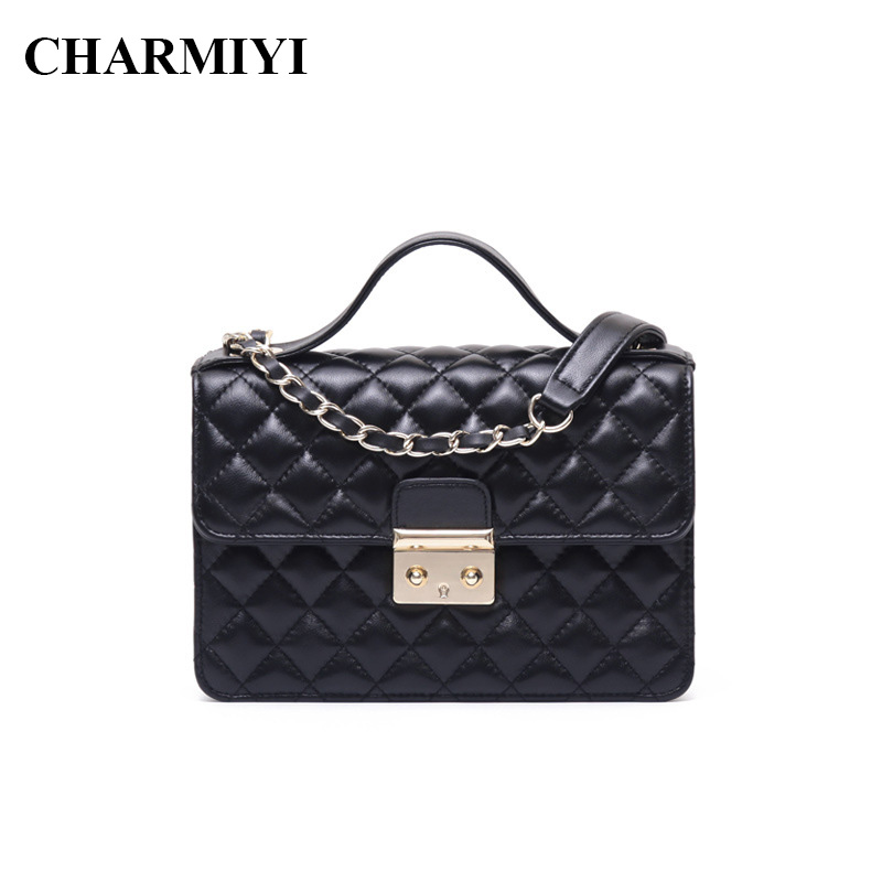 цены на CHARMIYI Genuine Leather Handbag Women Shoulder Bag Sheepskin Messenger Bags Chain Ladies Handbags Fashion Cover Crossbody в интернет-магазинах