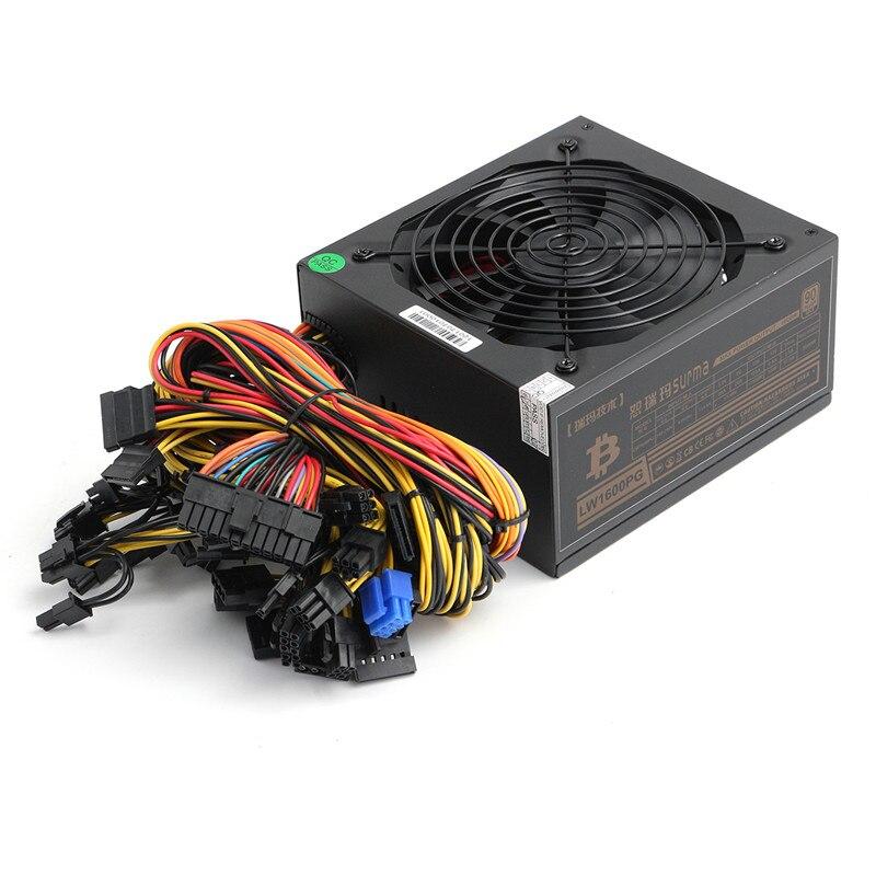 Btc Питание 6 GPU Eth Rig Эфириума монет Питание золото 90 КПД 1600 Вт Модульная для Miner добыча