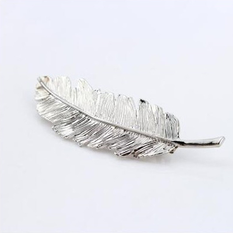 Fashion Women Leaf Feather Hair Clip Hairpin Barrette Bobby Pin Hair Clip Gold/Silver
