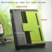 Para El Ipad 2 3 4 Caso de Cuero Multifunción Inteligente Para ipad2 ipad3 ipad4 con Altavoz enchufe Del Polvo Del Refrigerador