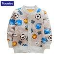 2016 Outono Casaco de Caxemira Do Bebê Fleece Jaqueta Roupa Das Crianças Dos Desenhos Animados Padrão de Espessura Quente Casaco Camisola Único Breasted