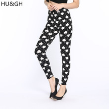 HU&GH Brand Women Printed Leggings Hot 2017 Fashion High Waist Love printing Fitness Elasticity Pant Female Casual Leggins
