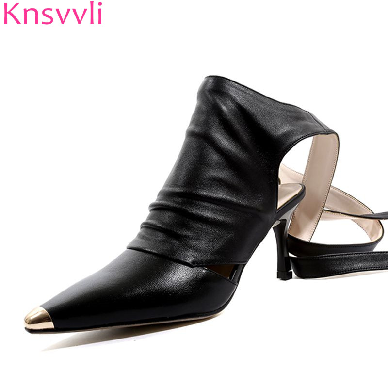 Knsvvli Metal Pointed Toe High Heels Sexy Shoes Women Black Ankle Twine Around Lace Up Summer