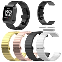 Luxury Stainless Steel Strap For Fit bit Versa Smart Watch Band Butterfly Buckle Replacement Bracelet Watch Bands Watchband 2018