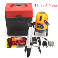 5 Lines 6 Points Rotary Laser Level Yellow Professional Automatic Self Leveling With 1 2M Tripod