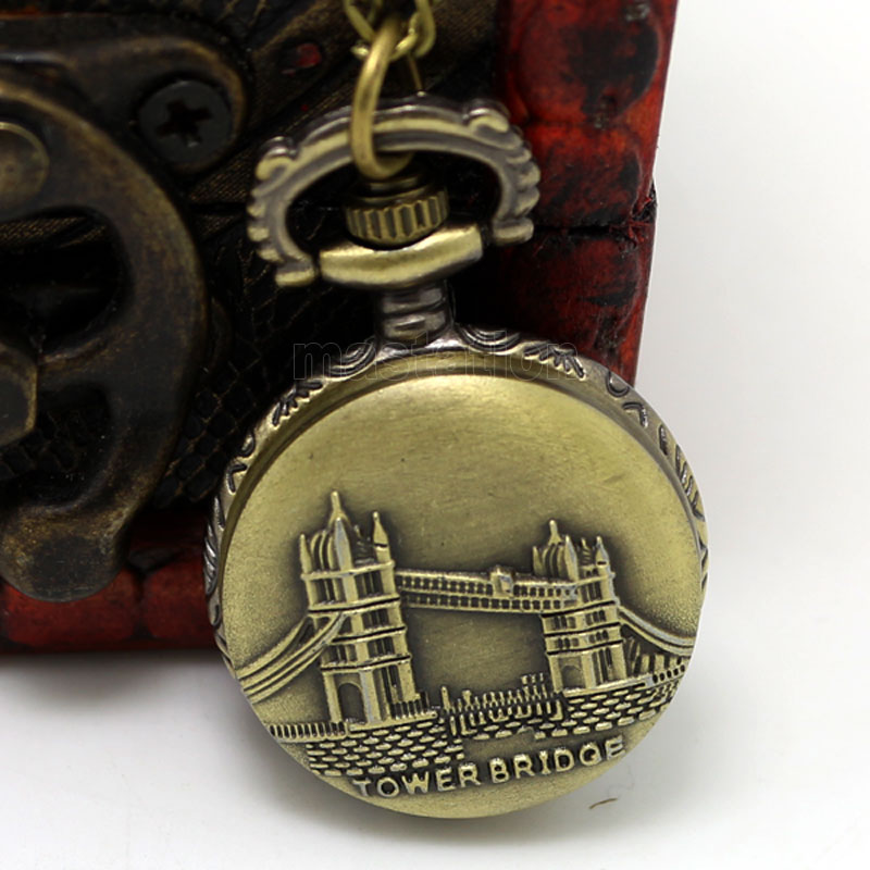 Fashion London Tower Bridge Design Small Fob Pocket Watch With Sweater Necklace Chain Free Drop Shipping Gift
