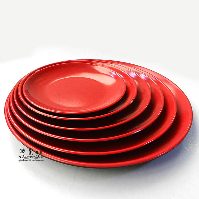 Two-color melamine plates large disc salad plate round dish fried rice plate rice dish : red melamine plates - pezcame.com