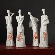 ceramic fashion young girls lady figurines home decor crafts room handicraft ornament porcelain vintage statue