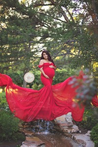 Image 3 - Maternity photography props Pregnancy Cloth Cotton+Chiffon Maternity Off Shoulder Half Circle Gown shooting photo pregnant dress