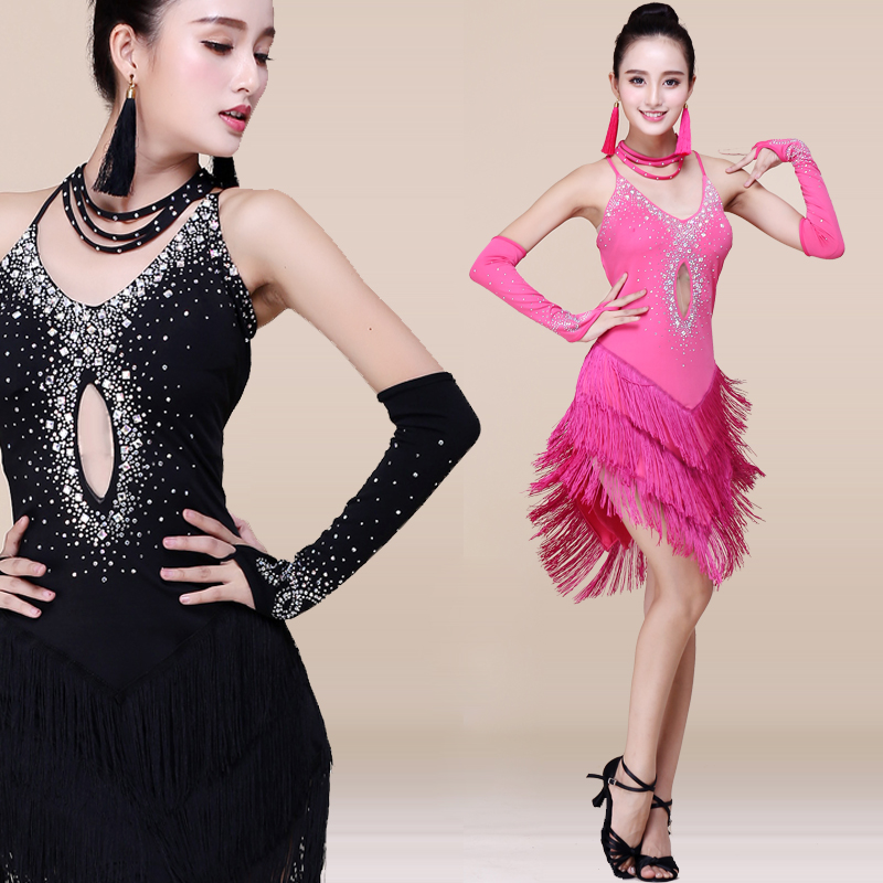 Sexy Ladies Girls Rhinestone Fringe Tassel Latin Skirt Women Performance Ballroom Tango Latin Salsa Dance Dress