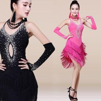 Sexy Ladies Girls Rhinestone Fringe Tassel Latin Skirt Women Performance Ballroom Tango Salsa Dance Dress - discount item  3% OFF Stage & Dance Wear