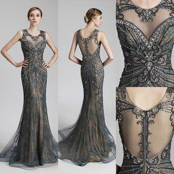 05a65f2bece Реальное изображение Роскошные Бисер длинное вечернее платье со шлейфом  Винтаж Сталь фатиновые вечерние платья Для женщин модные платья д.