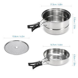 Image 5 - 3 pièces Camping batterie de cuisine en acier inoxydable Pot poêle à frire support de cuisson à la vapeur en plein air maison cuisine ensemble de cuisine