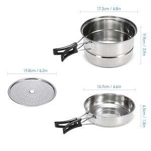 Image 5 - 3 szt. Zestaw garnków biwakowych garnek ze stali nierdzewnej patelnia do gotowania na parze na zewnątrz domu kuchnia zestaw do gotowania