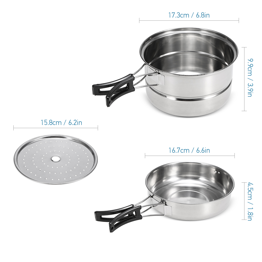 Image 5 - 3Pcs Camping Cookware Set Stainless Steel Pot Frying Pan Steaming Rack Outdoor Home Kitchen Cooking Set-in Outdoor Tablewares from Sports & Entertainment