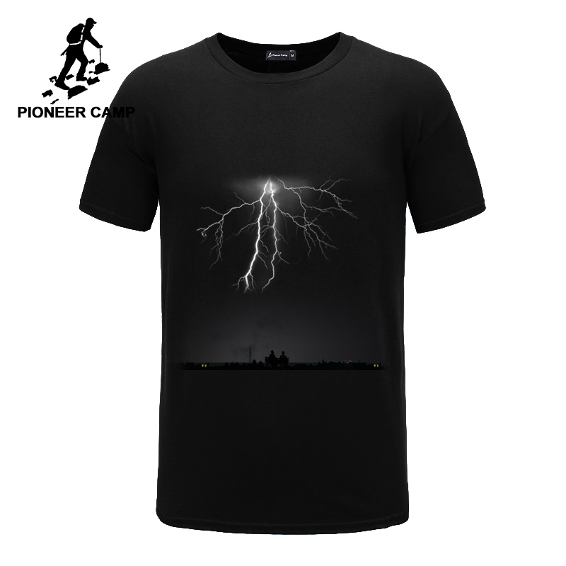 पायनियर शिविर बिजली मुद्रित टी शर्ट पुरुषों काली टी शर्ट पुरुषों की फैशन पुरुषों की टी शर्ट आकस्मिक ब्रांड के कपड़े कपास डी शर्ट 405043