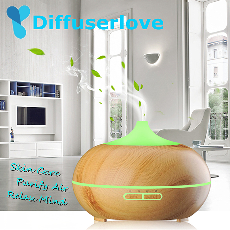 Diffuserlove 300ml Air Humidifier Aroma Essential Oil Diffuser Ultrasonic Air Humidifier With 7 Color Changing LED Lamp For Home