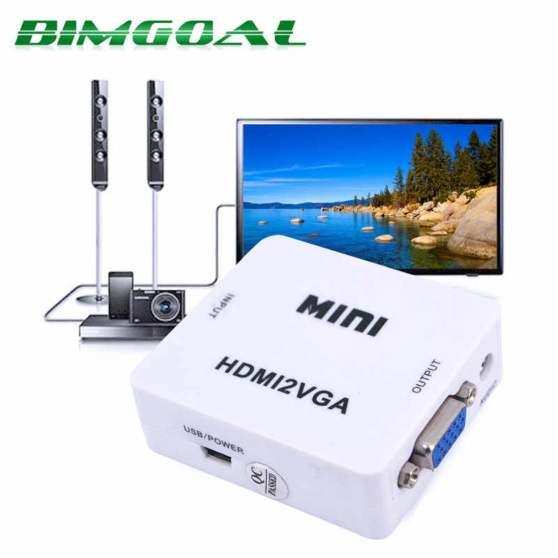 Asli HD 1080 P Mini HDMI Ke VGA Converter dengan Audio HDMI2VGA Video Kotak Adaptor untuk Xbox360 PC DVD PS3 PS4