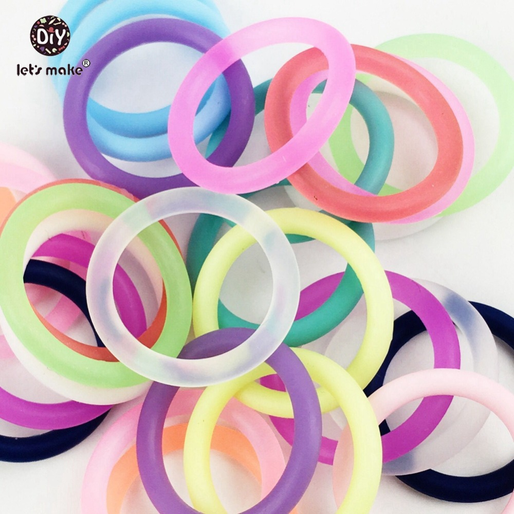 Lets make Silicone Teether O Ring Baby40pc  Pacifier Clip Adapter Attachment Ring Circle Baby Teether General Supplies