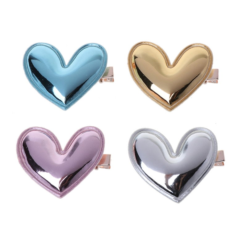 1 Bag 4Pcs Glitter PU Leather Heart Hair Clip Girl Hairpin Kid Birthday Party Barrette New Hot