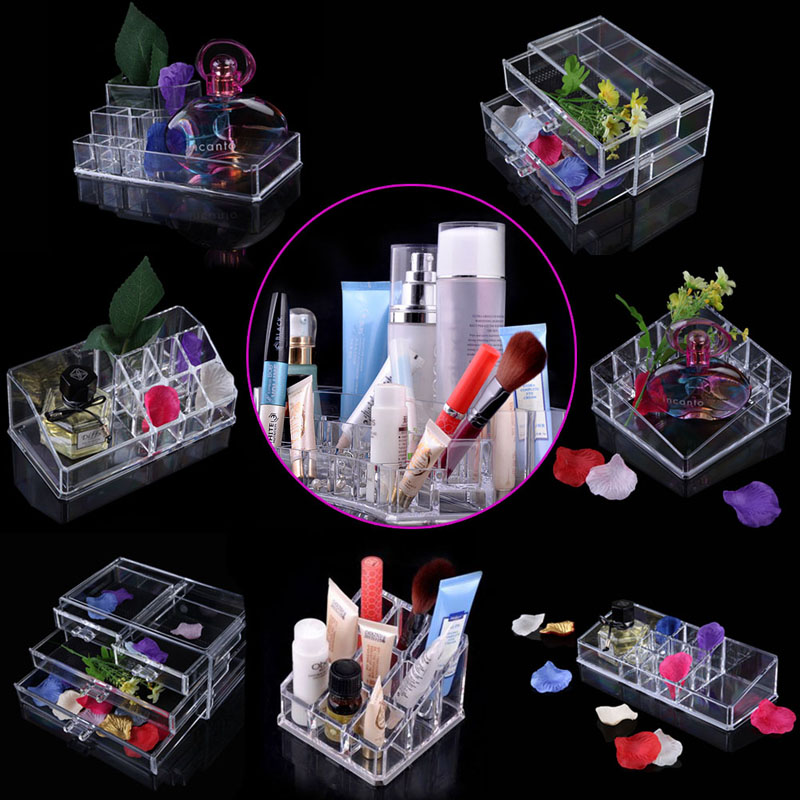 New Clear Acrylic Cosmetic Tools Container Storage Box Cream Bottles Jewelry Holder Transparent Makeup Organizer Drawer Box Case multifunctional car storage box container grey