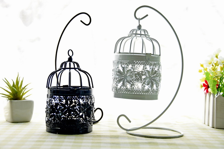 2 Colors Metal Birdcage Vintage Iron Antique White Black Home Decor Wedding Bird Cage Decoration Retro Card Holder