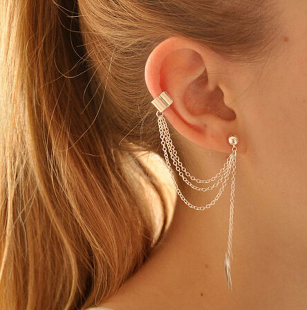 2020 earings long women fashion earing for womens dangling 1piece Punk Rock Style Young Gift Leaf Chain Tassel Earrings Q60