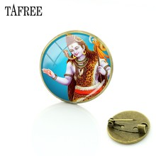 TAFREE Hinduism Lord Shiva Picture Brooches for T-shirt Bag Pins up women accessories Glass cabochon dome Vintage Jewelry LS56(China)
