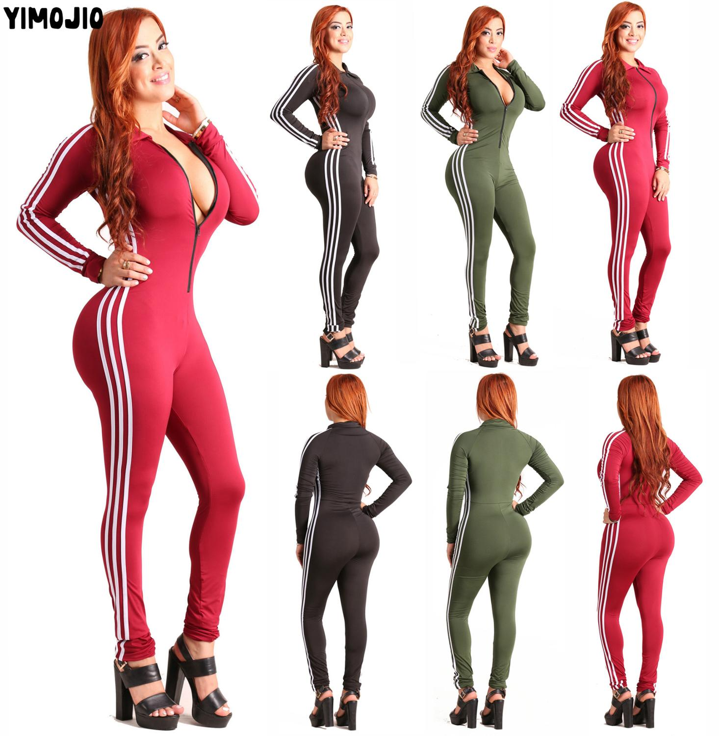 Women Hot 2019   Jumpsuits   Playsuits Bodysuits Romper Women Hot Style Casual Striped Skinny Sexy   Jumpsuit   Long Sleeve Club Zipper