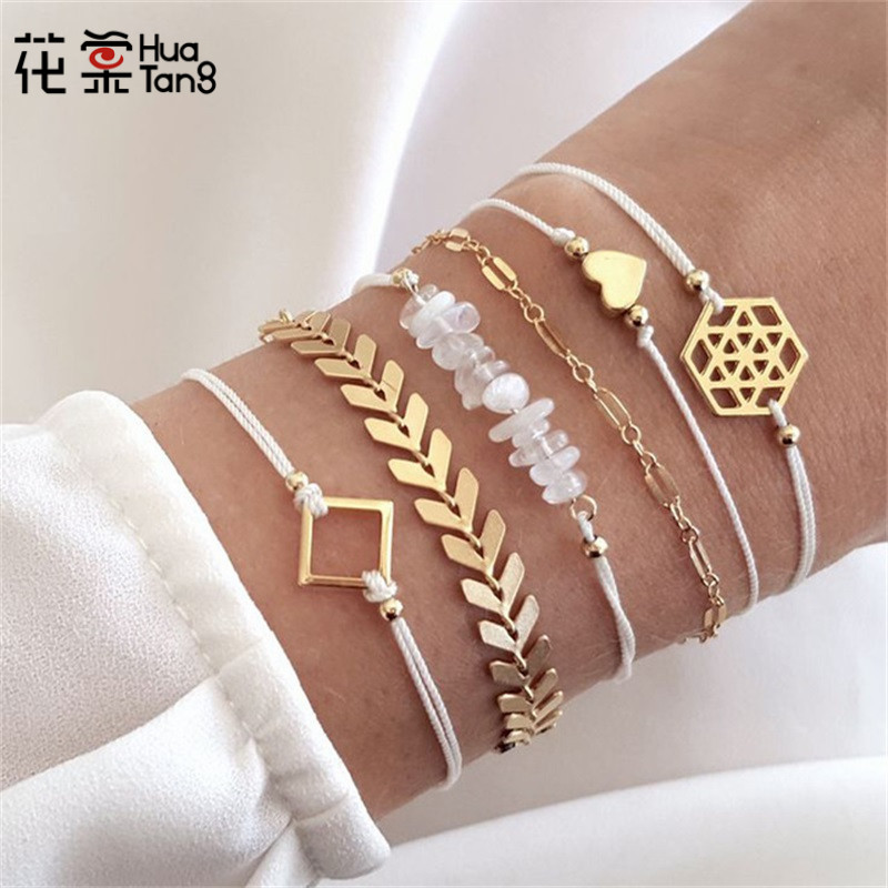 HuaTang Gold Color Arrow Heart Pendant Bracelets Set for Women Geometric Beadeds Layered Charms Bracelets Party Jewelry 6792