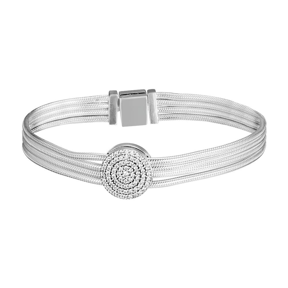 Silver Bracelets Authentic 925 Sterling Silver Reflexions Multi Snake Chain Bracelet For Women Jewelry Bracelet