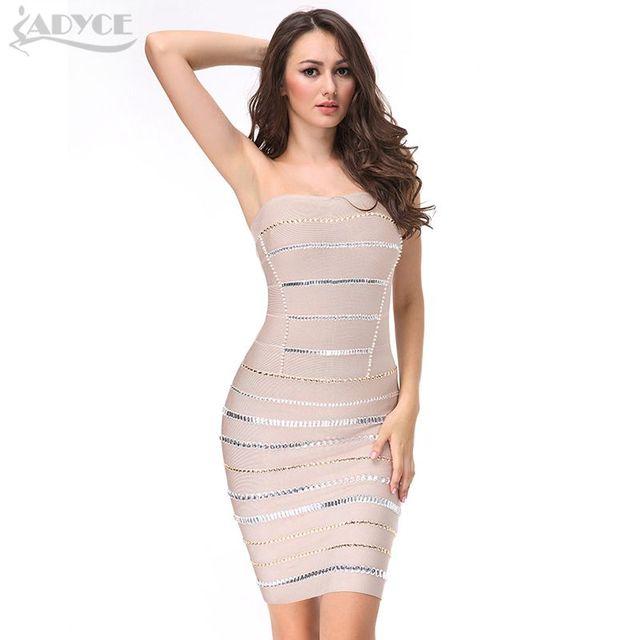 cb4e86826 2017 vestido de Verano las mujeres pista vestido del vendaje atractivo de  Diamantes de color caqui