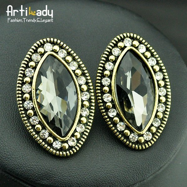 Artilady engagement crystal ear pins fashion statement earrings