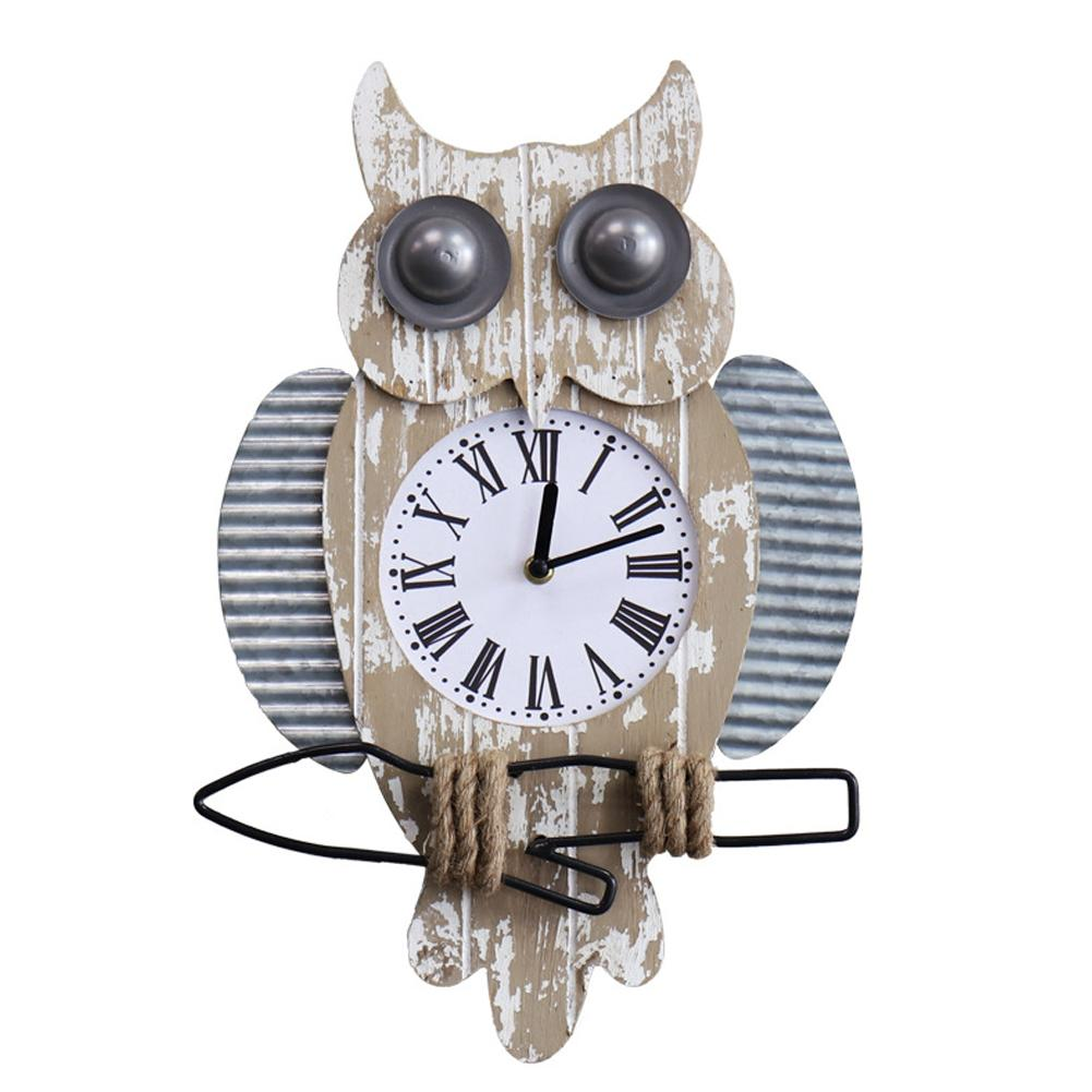 Retro Owl Clock Vintage American Country Style Wooden Wall Clocks Owl Shaped Wall Ornament Home Decoration Supplies