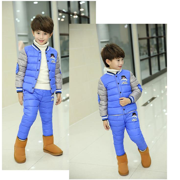 Baby Coat jack2018 Winter Children Clothes Sets Baby Girls Boys Suits Cartoon Outdoor Coats+Pants Sports Warm Kids Student Suits children sets girls winter sweater coat