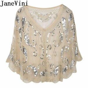 Image 4 - JaneVini Arabic Evening Shawls with Sequins Beaded Bridal Wraps Shrug Cape Dentelle Gold Bolero Tul Wedding Party Jackets Coat