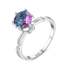 INALIS New Statement Finger Ring 925 Sterling Fine Jewelry Six Claw Singer Multi Shining Topaz Crystal for Women Wedding Party
