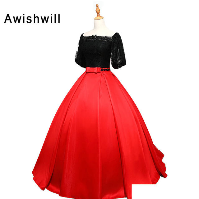 Online Shop Real Photo Black and Red Ball Gown Prom Dresses With ...