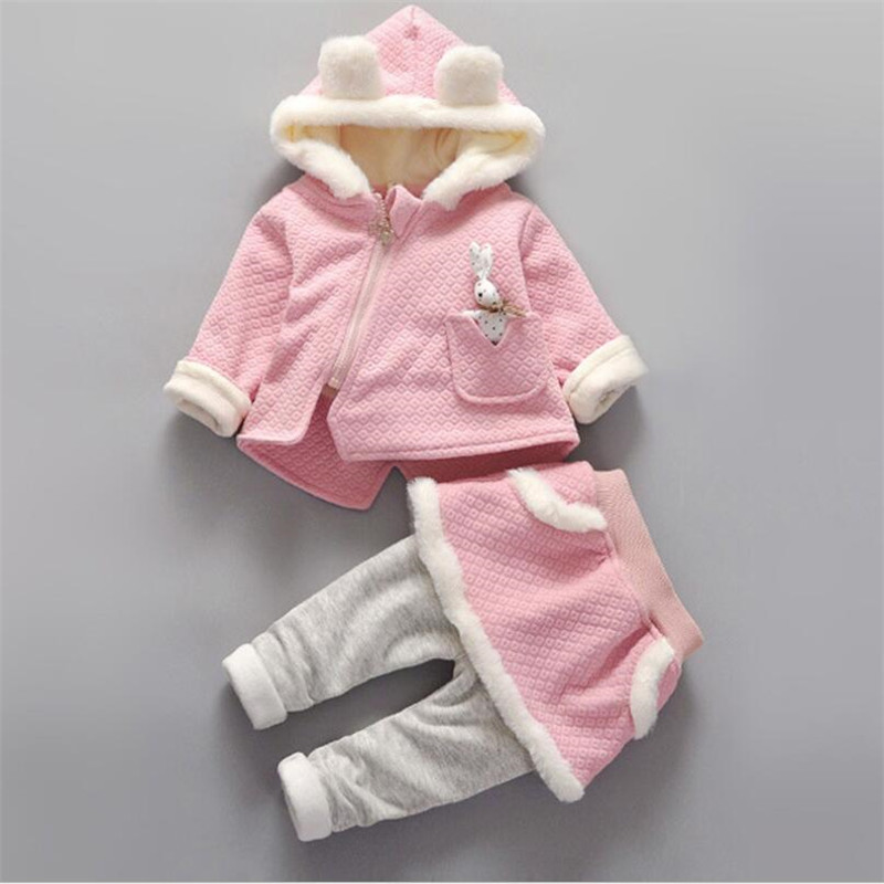 2016 2016 High Quality baby Clothing Set 2016 Korean Cute Knitted Thicken Fleece coat pants